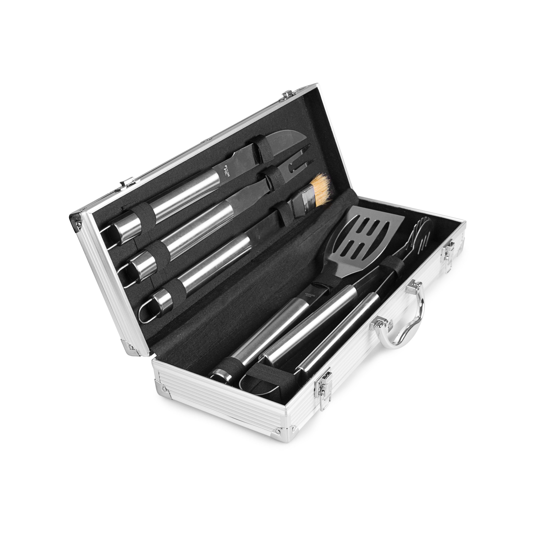 rustler grillbesteck set im aluminium koffer 5 teilig. Black Bedroom Furniture Sets. Home Design Ideas