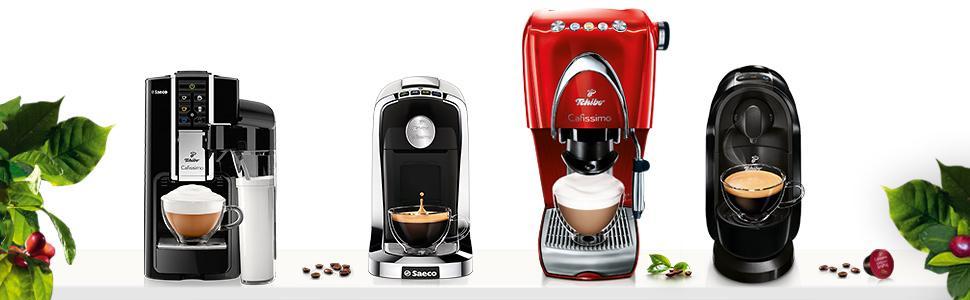 Tchibo Cafissimo Latte Nero, Tuttocaffè Bianco, Classic Hot Red, Pure Black