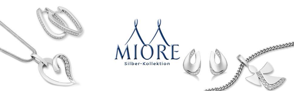 Miore Damen-Halskette 925 Sterling Silber Anhänger Onyx