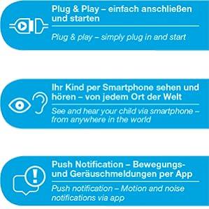 Plug&Play, Weltweit zuverlässig, Push Notification – Bewegungs- und Geräuschmeldungen per App