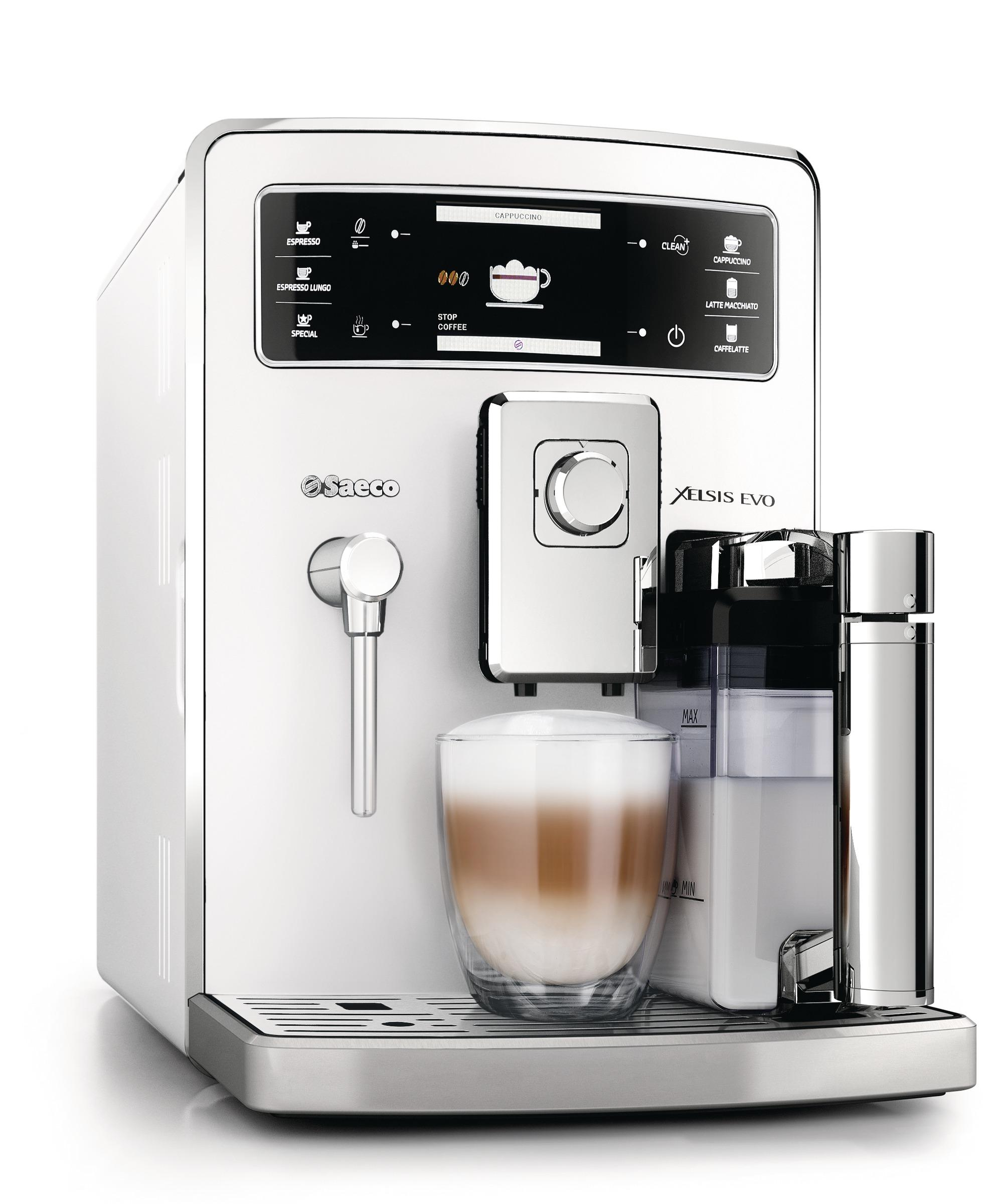 saeco hd8953 21 xelsis evo kaffeevollautomat 15 bar integrierte milchkaraffe wei. Black Bedroom Furniture Sets. Home Design Ideas