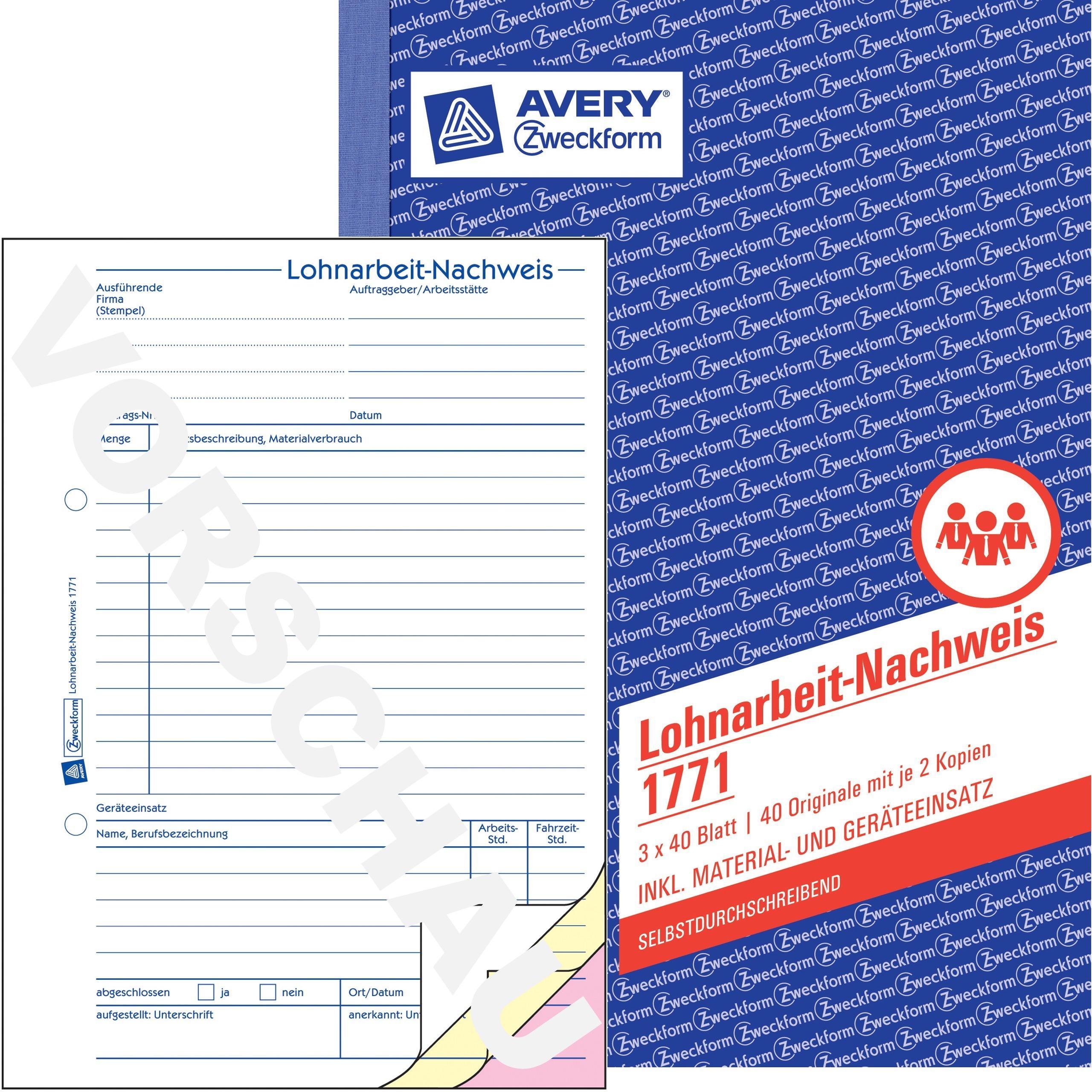 5x Zweckform Kassenbuch 1756 A4 nach Steuerschiene 300 je Buch 2x40 Blatt AVERY