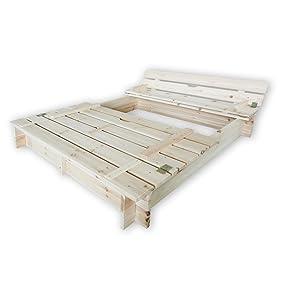 habau 3022 sandkasten mit deckel und bank 120x120x20 cm garten. Black Bedroom Furniture Sets. Home Design Ideas