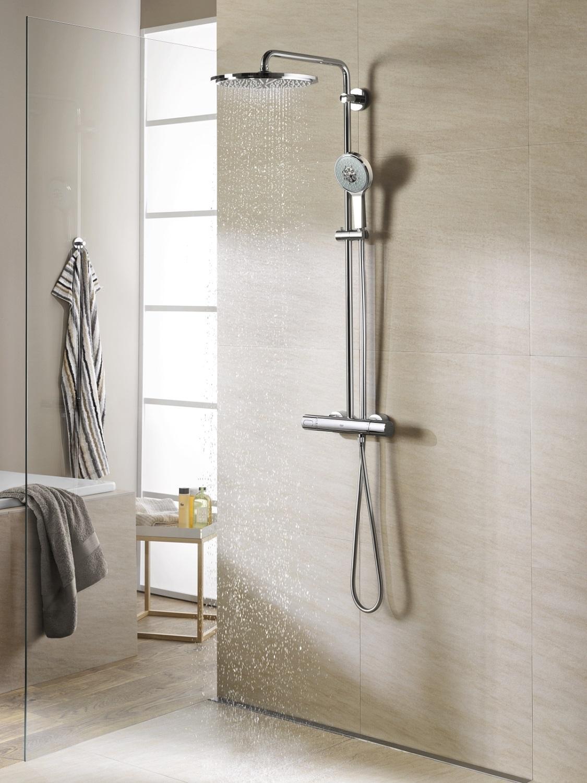grohe rainshower 310 duschsystem mit thermostat 27968000. Black Bedroom Furniture Sets. Home Design Ideas