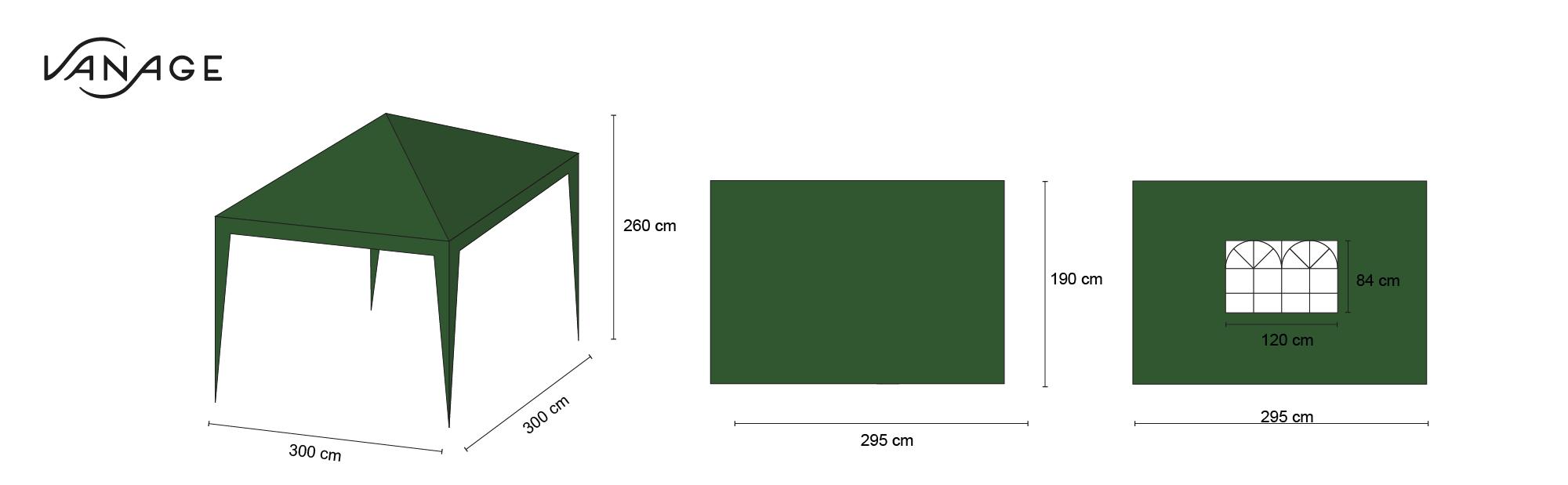vanage pavillon stella gr n aus aluminium mit 4 seitenw nden 300x300x260cm. Black Bedroom Furniture Sets. Home Design Ideas