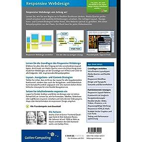 Buchrückseite mit Beschreibungstext von Responsive Webdesigns