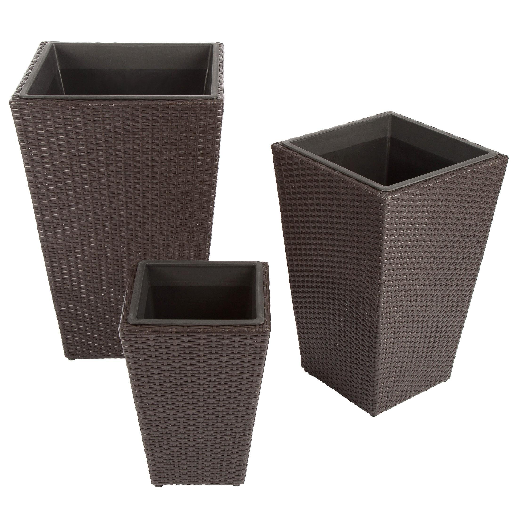 ultranatura poly rattan pflanzk bel 3er set palma serie. Black Bedroom Furniture Sets. Home Design Ideas