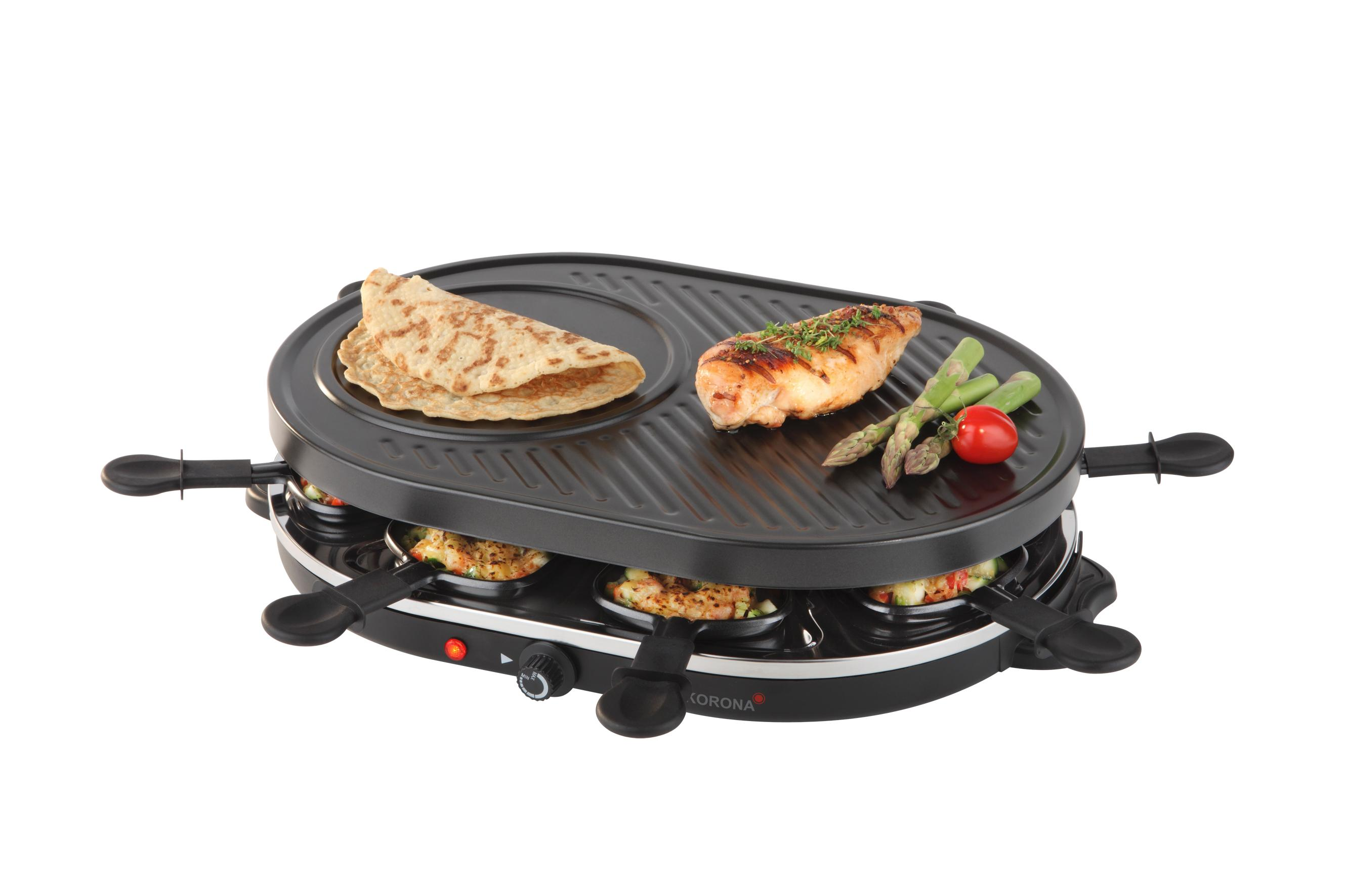 korona 45000 raclette grill 1200 watt 8 personen schwarz. Black Bedroom Furniture Sets. Home Design Ideas