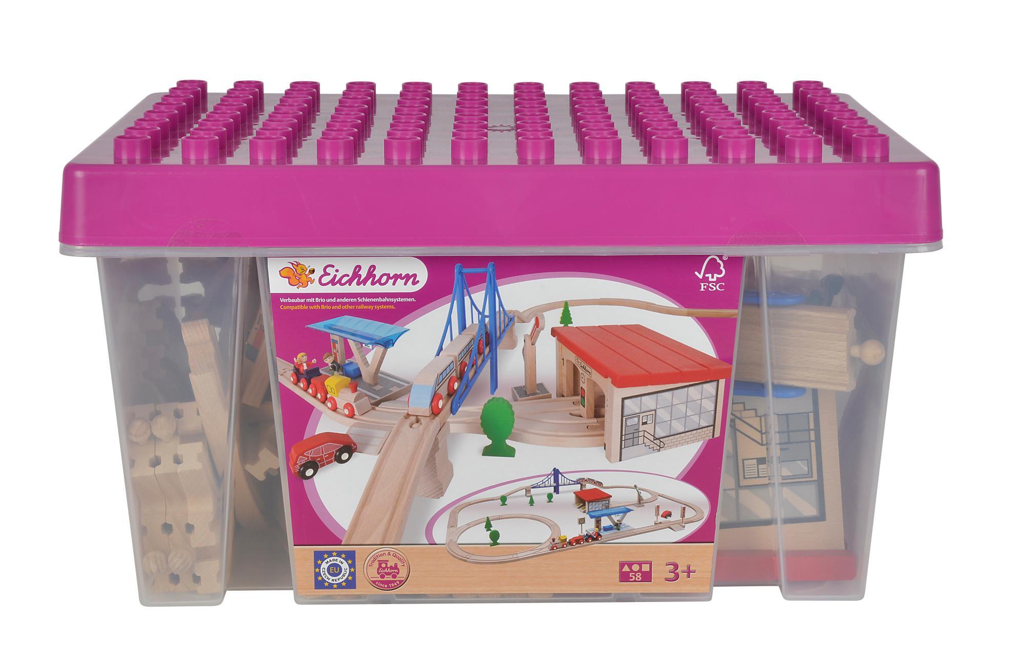 Simba Eichhorn 100001228 - Großes Bahnset in Box, 58