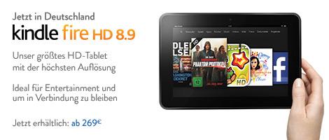 Teaser Bild für Amazon Special: Der Kindle Fire HD 8.9 ist ab heute bei Amazon.de erhältlich – ab EUR 269.