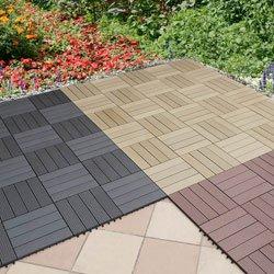WPC (=Holz/Kunststoff-Gemisch) Terrassenfliese 10er-Set (ca. 0,9 m2), 30x30cm, H 22mm, Farbe dunkelgrau, witterungsfest, leicht verlegbar - Weitere Features