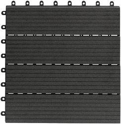WPC (=Holz/Kunststoff-Gemisch) Terrassenfliese 10er-Set (ca. 0,9 m2), 30x30cm, H 22mm, Farbe dunkelgrau, witterungsfest, leicht verlegbar