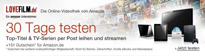 Teaser Bild für Amazon Special: LOVEFiLM – Filmgenuss pur mit Deutschlands größter Spielfilmauswahl