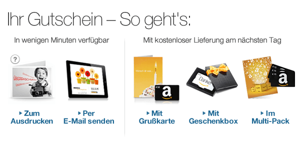 Alle Amazon.de Gutscheinoptionen