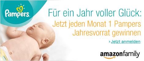 Amazon Family: Jeden Monat 1 Pampers Jahresvorrat gewinnen