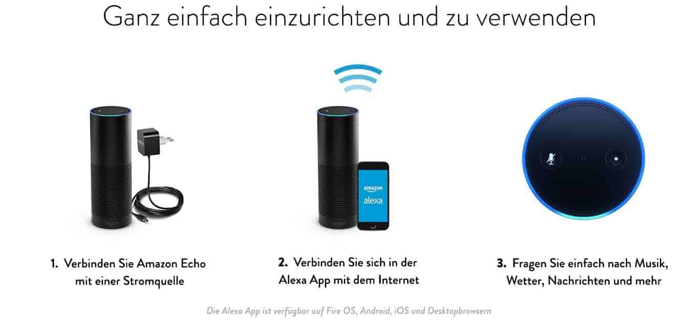 Einfach einzurichten und zu verwenden - 1. Verbinden Sie Amazon Echo mit einer Stromquelle  | 2. Verbinden Sie sich in der Alexa App mit dem Internet | 3. Fragen Sie einfach nach Musik, Wetter, Nachrichten und mehr  - Die Alexa App ist verfügbar auf Fire OS, Android, iOS und Desktopbrowsern.