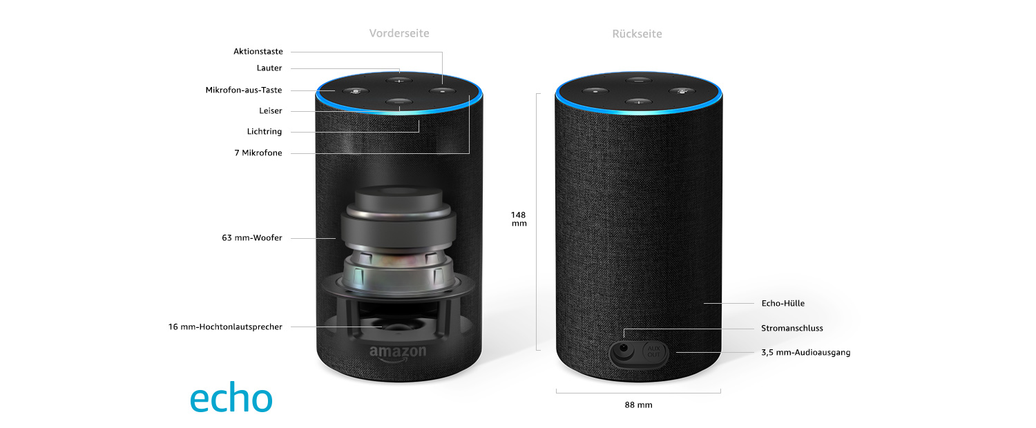 amazon echo bluetooth lautsprecher mit alexa. Black Bedroom Furniture Sets. Home Design Ideas