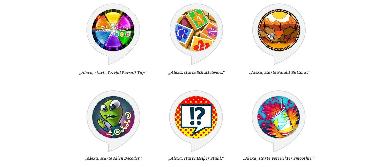 Schüttelwort, Bandit Buttons, Alien Decoder, Heißer Stuhl, Verrückter Smoothie, Trivial Pursuit Tap.