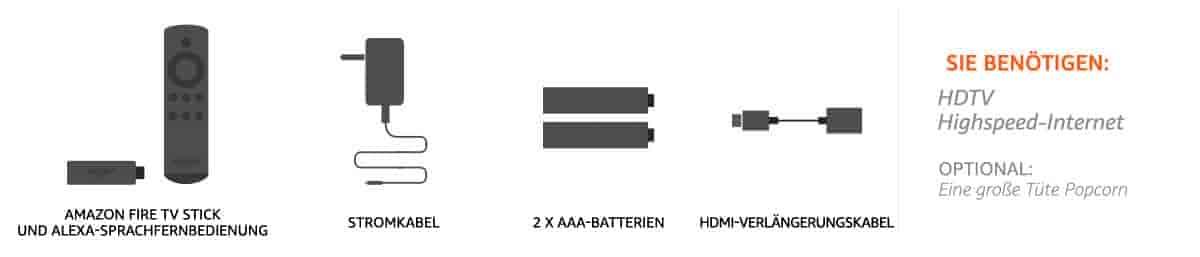 Amazon Fire TV Stick und Alexa Sprachfernbedienung, Stromkabel, 2 mal AAA- Batterien, HDMI-Verlängerungskabel
