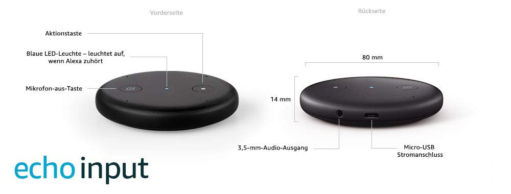 echo input schwarz bringen sie alexa auf ihren. Black Bedroom Furniture Sets. Home Design Ideas