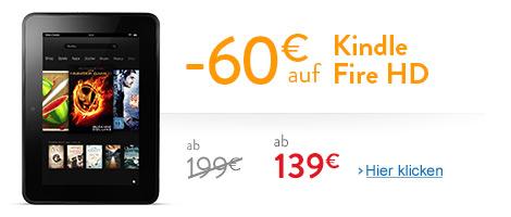 Teaser Bild für Amazon Special: 60 EUR Rabatt auf Kindle Fire HD