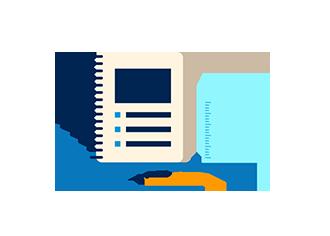 Notitzbuch, Stift und Lineal