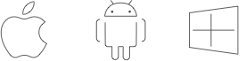 Apple, Android, Amazon and Windows icons