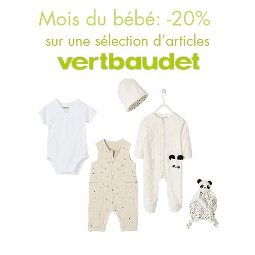 Mois du bébé: -20% sur une sélection d'articles Vertbaudet