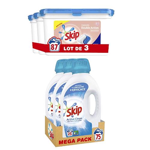 Skip: -40% sur la lessive capsules et liquide