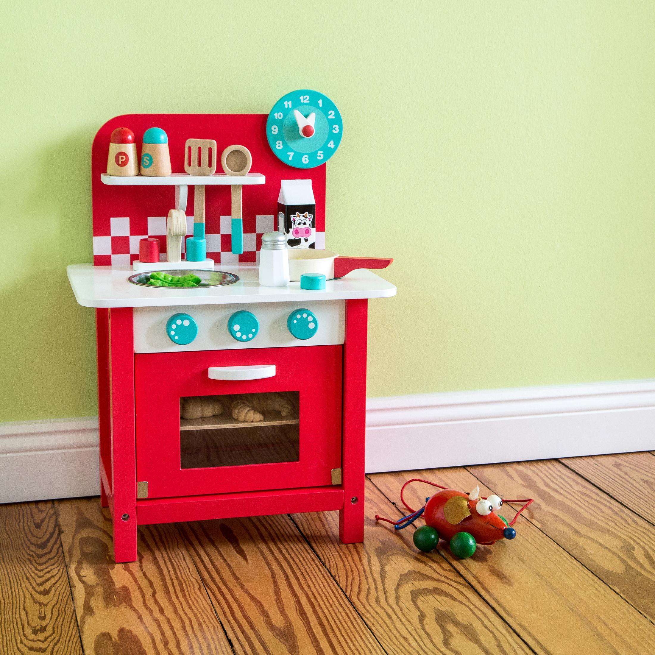 ultrakidz petite cuisine jouet charly en bois avec ustensiles de cuisine jeux et. Black Bedroom Furniture Sets. Home Design Ideas