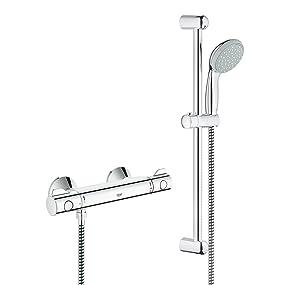 ensemble de douche, barre de douche, montée en température, poignée de douchette, économie d'eau