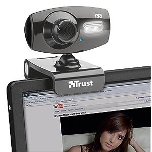 Webcam, USB, 2.0, HD, mégapixels, résolution, LED, ordinateur, Trust