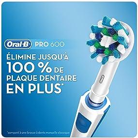 Oral B Pro 600 Cross Action Brosse à Dents Électrique Rechargeable