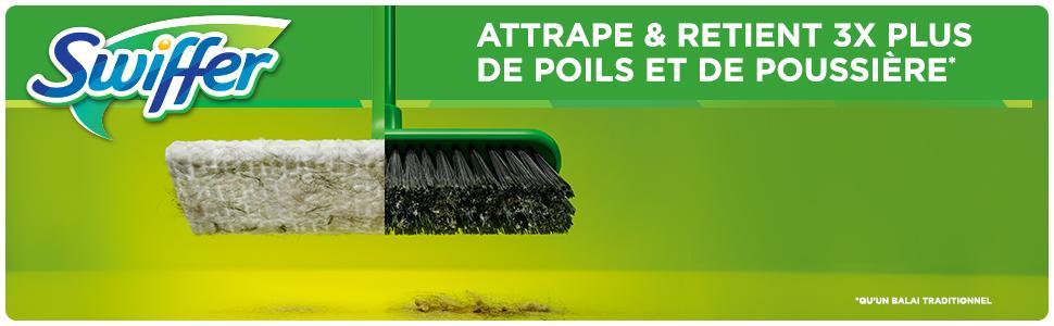 Swiffer kit balai pour sol 8 lingettes s ches amazon - Meilleur aspirateur balai pour poils d animaux ...
