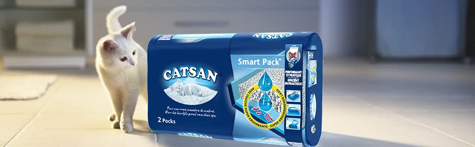 catsan hygi ne plus smartpack liti re pour chat 2x4l animalerie. Black Bedroom Furniture Sets. Home Design Ideas