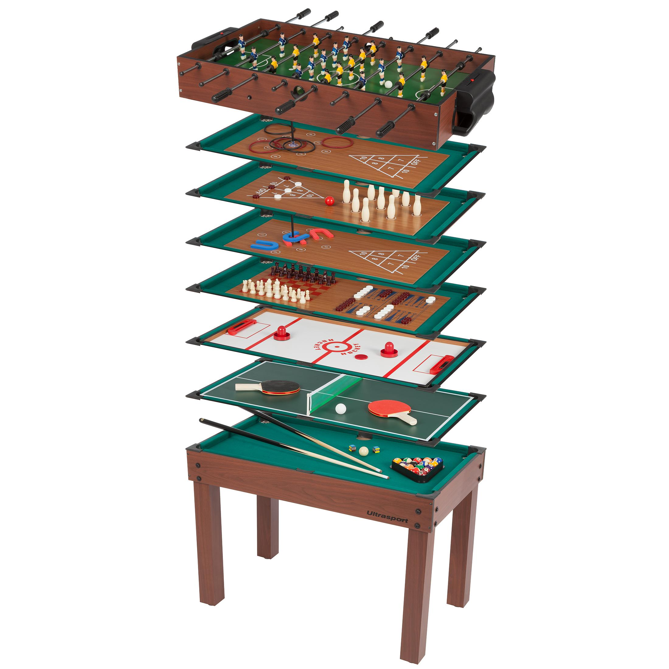 ultrasport table de jeux 12 en 1 table de jeu pour enfants avec baby foot billard chiquier. Black Bedroom Furniture Sets. Home Design Ideas