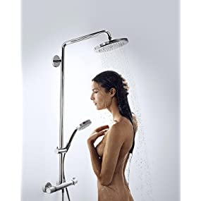 hansgrohe colonne de douche showerpipe croma 220 avec mitigeur thermostatique ecosmart chrome. Black Bedroom Furniture Sets. Home Design Ideas