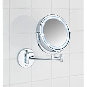 Wenko 3656530100 lumi power loc miroir mural led for Carrelage adhesif salle de bain avec led power supply