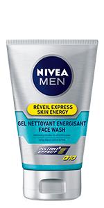 gel nettoyant énergisant Q10 réveil express nivea men