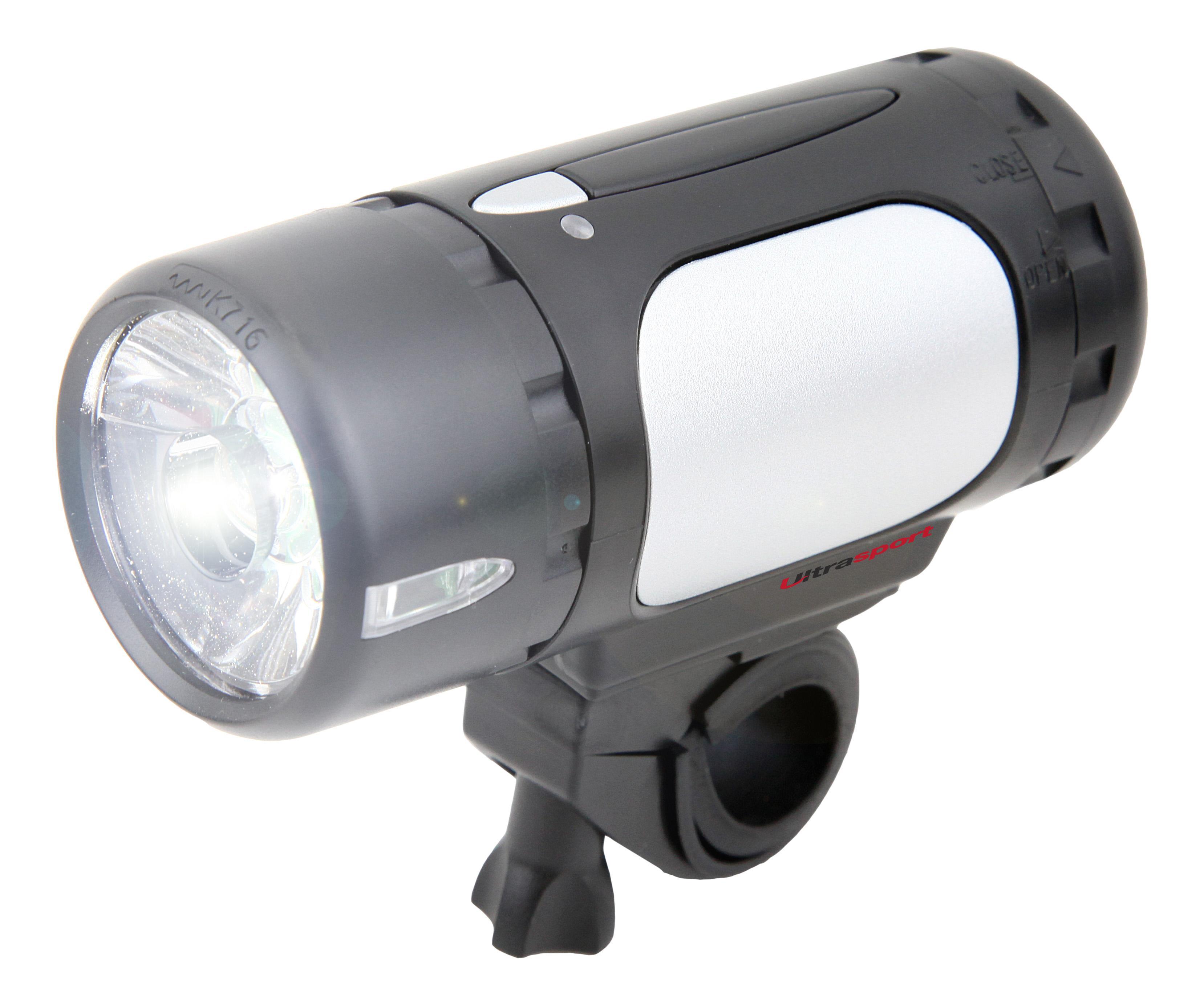 Ultrasport /Éclairage v/élo DEL Hi-Power // Feu avant halog/ène pour v/élos de route autoris/é par la StVZO 1/watt et 20/lux avec bouton-poussoir fonctionne sur batterie /étanche feu de position et foncti