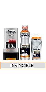 men expert déodorant bille spray anti odeur anti transpirant invincible