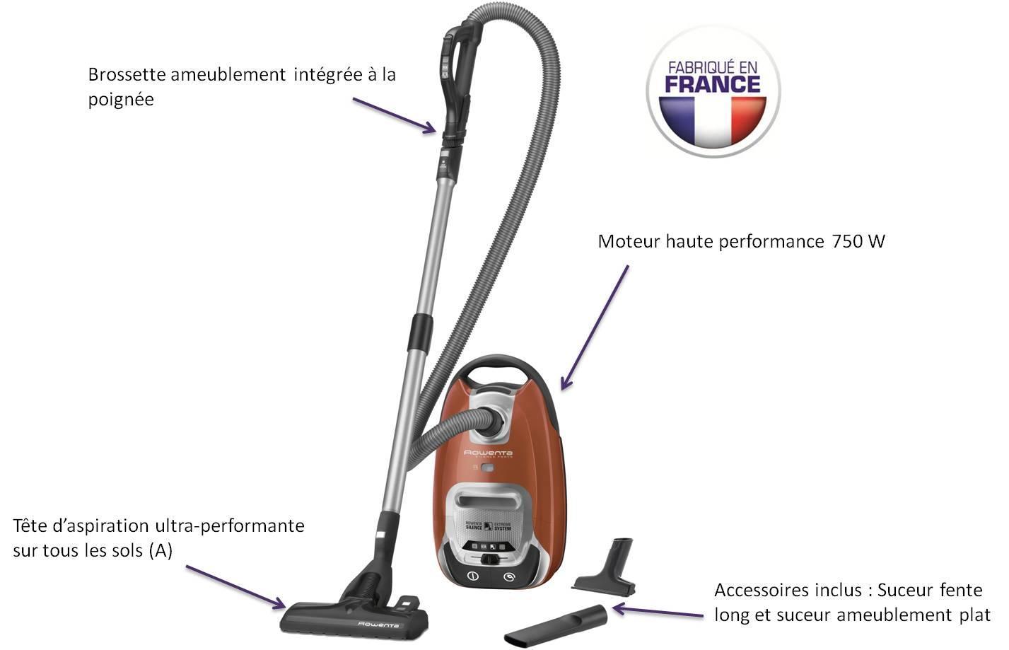 Rowenta ro6432ea aspirateur avec sac silence force 4a - Sac aspirateur rowenta silence force 2200w ...
