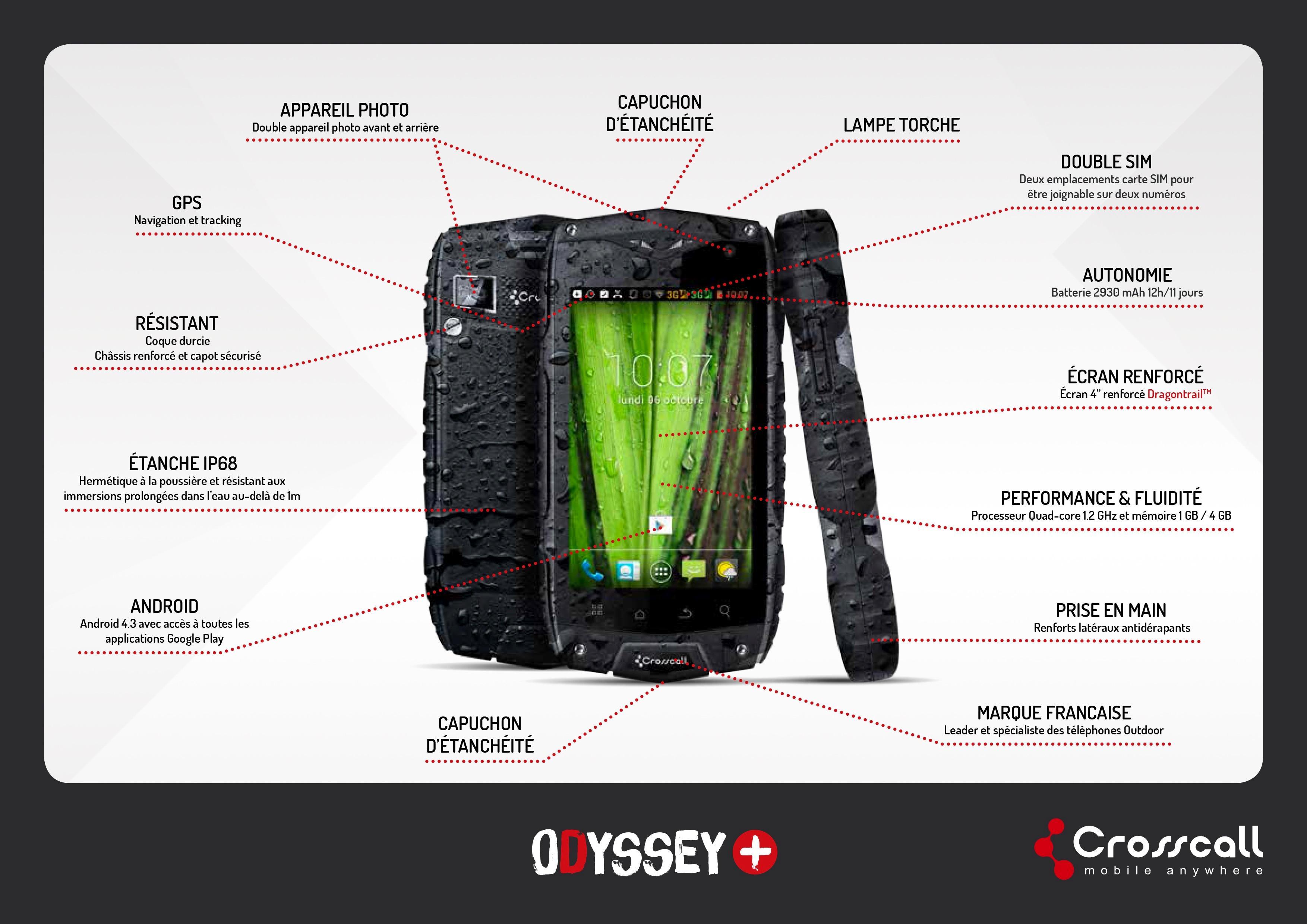CROSSCALL - ODYSSEY+ Smartphone Etanche - Noir/Gris