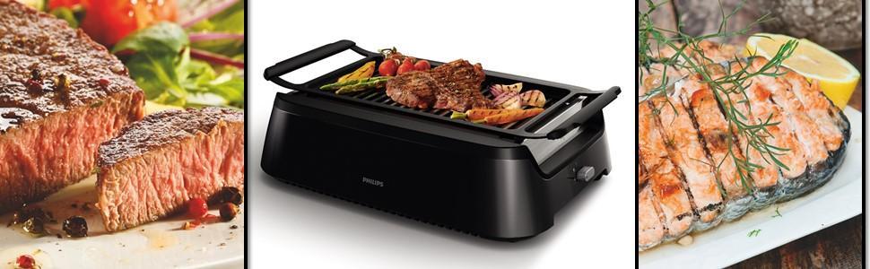 philips hd6370 90 barbecue sans fum e noir 52 4 x 36 79 x 16 10 cm cuisine maison. Black Bedroom Furniture Sets. Home Design Ideas