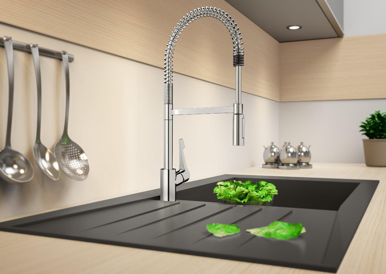 hansgrohe mitigeur de cuisine semi professionnel cento xxl tr s haut bec avec douchette. Black Bedroom Furniture Sets. Home Design Ideas