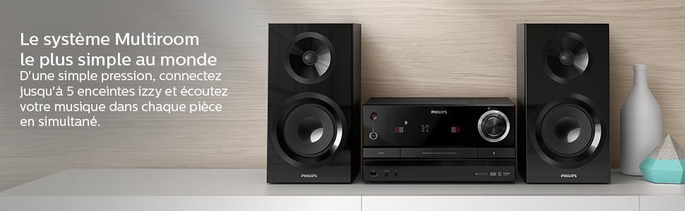 Philips Izzy BM50B Système Audio Multiroom Plat avec Configuration Simple Lecteur CD USB Radio FM Musique sans Fil