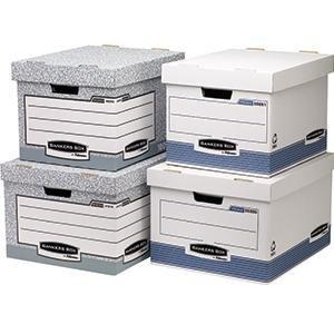 fellowes 01810 ffeu grande caisse pour archive banker box system montage automatique gris lot. Black Bedroom Furniture Sets. Home Design Ideas
