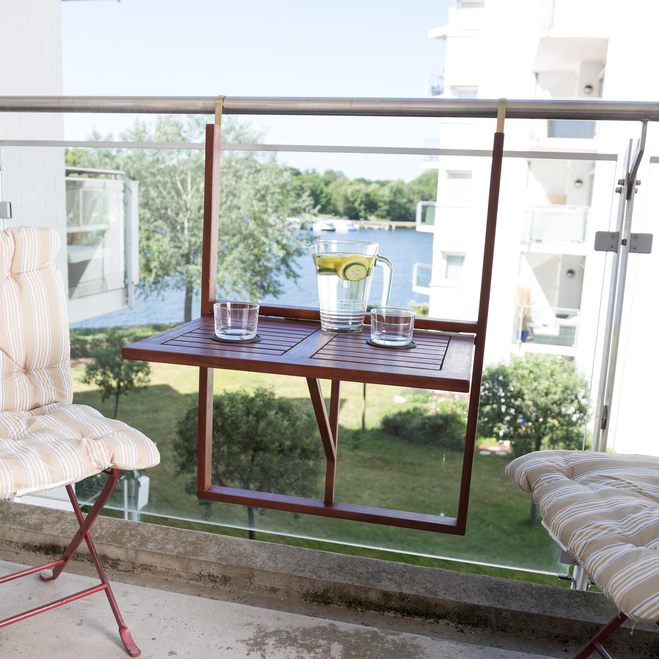ultranatura table de balcon table suspendue en bois rabattable gamme canberra jardin. Black Bedroom Furniture Sets. Home Design Ideas