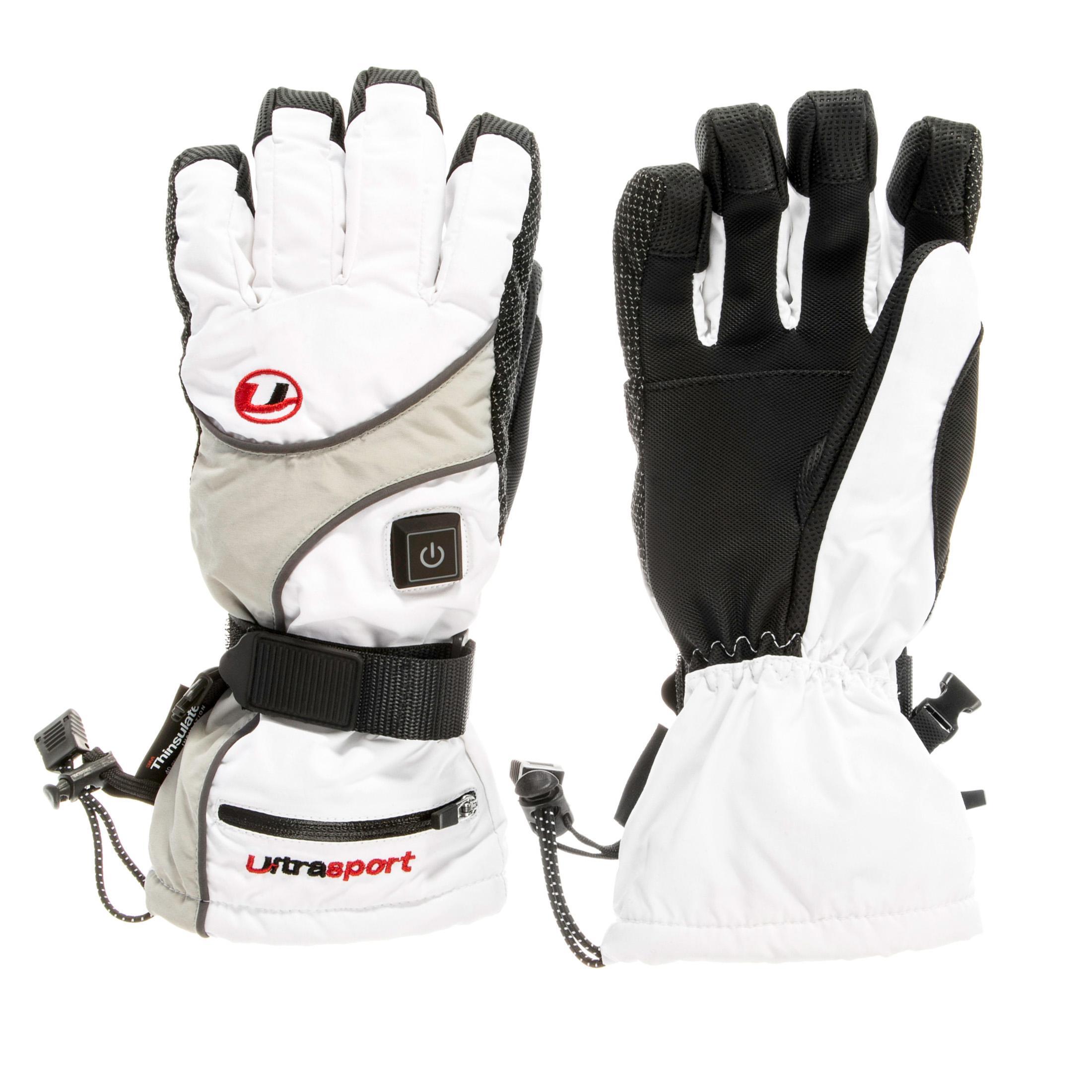ultrasport gants de snowboard chauffants pour femme avec pack de batteries et chargeur blanc. Black Bedroom Furniture Sets. Home Design Ideas