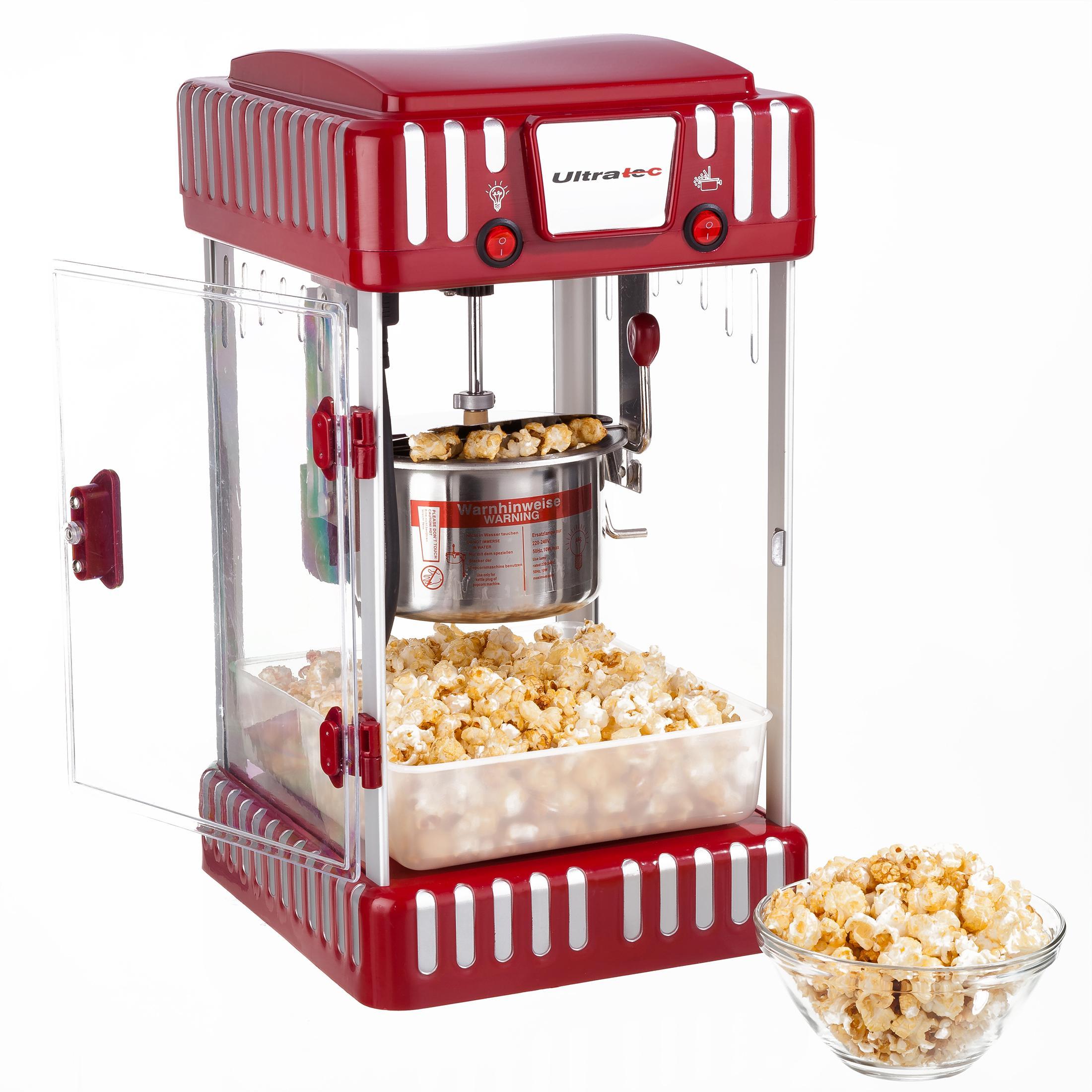 83c748b99fb7a1 Ultratec Machine à pop corn rétro avec casserole en acier inoxydable